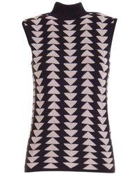 Emporio Armani Triangles Pattern Sleeveless Sweater - Black