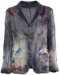 Avant Toi Blazer misto lino con stampa floreale - Grigio