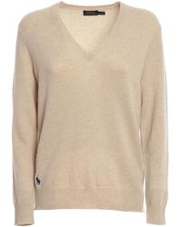 Polo Ralph Lauren - Pull a V in lana misto cashmere - Lyst