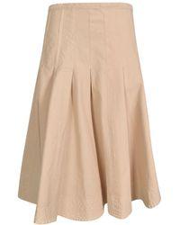 Barena Flared Midi Skirt In Ivory Colour - Natural