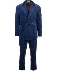 Brunello Cucinelli Velvet Dress In Blue