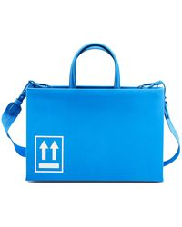 Off-White c/o Virgil Abloh Light Blue Smooth Leather Tote