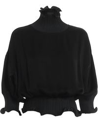 Givenchy Satin Blouse With Pleated Edges - Black