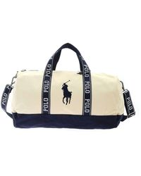 Polo Ralph Lauren Travel Bag In Beige And Blue - Natural