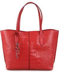 Tod's Crocodile-effect Tote Bag - Red