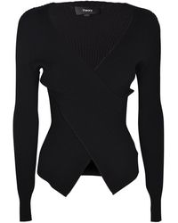 Theory - Wrap Sweater In Black - Lyst
