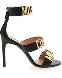Moschino Golden Lettering Logo Sandals - Black