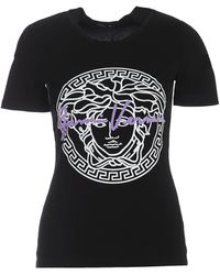 Versace T-shirt in cotone con stampa logo medusa - Nero