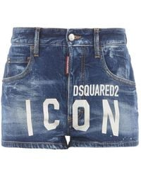 DSquared² Icon Print Denim Shorts - Blue