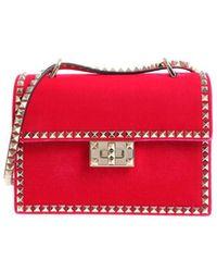 Valentino Garavani Rockstud Velvet Leather Bag - Red