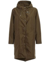 Fay Technical Fabric Hooded Trench - Green