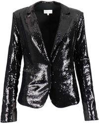Patrizia Pepe Single-breasted Sequin Blazer - Black