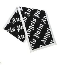 Palm Angels Monogram Scarf In Black And Gray
