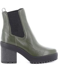 Hogan Green Leather Ankle Boots