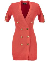 Elisabetta Franchi Stocking Stitch Robe Manteau - Red