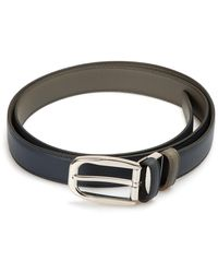 Brioni Reversible Leather Belt - Blue