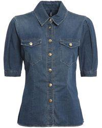 Liu Jo Half-sleeved Denim Shirt - Blue