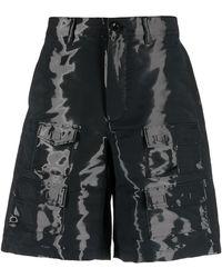Givenchy Wet Effect Cotton Blend Cargo Shorts - Black