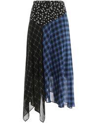 Michael Kors Patchwork Checked Chiffon Flared Skirt - Blue