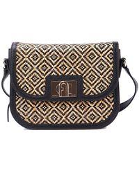 Furla 1927 Raffia And Leather Small Bag - Natural