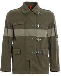 Fay 4 Ganci Bicolour Striped Denim Jacket - Green