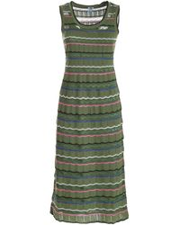 M Missoni - Drilled Knitted Dress In Green - Lyst