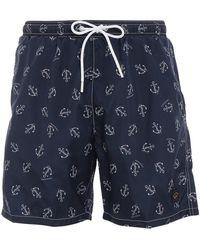 Paul & Shark Anchor Printed Swim Shorts - Blue