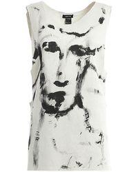 Avant Toi Portraits Print Fleece Long Tank Top - Grey
