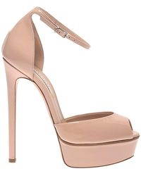 Casadei - Flora Nude Patent Leather Platform Sandals - Lyst