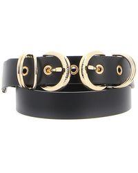 Versace Jeans Gold-tone Double Buckle Leather Belt - Black