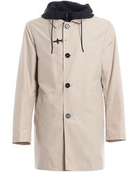 Fay Tech Fabric Raincoat - Natural