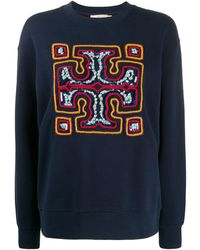 Tory Burch Tb Monogram Embroidery Cotton Sweatshirt - Blue