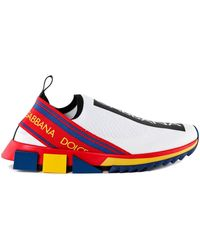 Dolce & Gabbana Sorrento Multicolor Stretch Jersey Slip-ons - Red