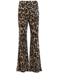 Diane von Furstenberg Caspian Jersey Silk Leo Print Pants - Multicolor