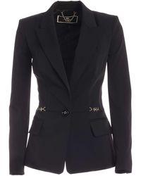 Elisabetta Franchi - Logo Trim Single-breasted Jacket - Lyst