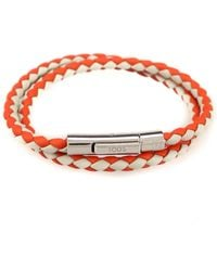 Tod's Mycolors Grey And Orange Leather Bracelet - Red