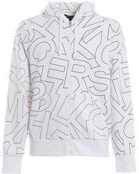 Michael Kors Felpa con cappuccio e zip in cotone stampato - Bianco