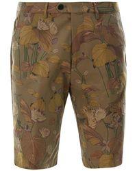 Etro Floral Print Cotton Bermuda Shorts - Green