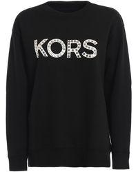 Michael Kors Studded Kors Logo Black Sweatshirt