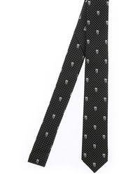 Alexander McQueen Skull Jacquard Silk Tie - Black