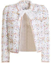 Edward Achour Paris Coloured Spot Cropped Jacket - White