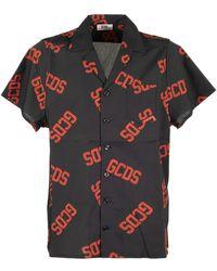 Gcds Camicia in cotone con stampa logo - Nero