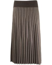 Agnona Pleated Skirt - Brown