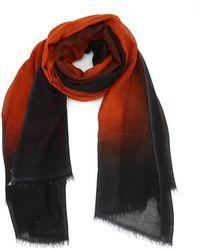 Avant Toi Black And Dark Orange Cashmere Pashmina
