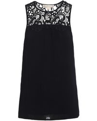 Michael Kors See-through Lace Pleated Tank Top - Black