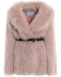 Prada Real Fur Belted Coat - Pink