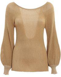 Blumarine Ribbed Lurex Yarn Sweater - Metallic