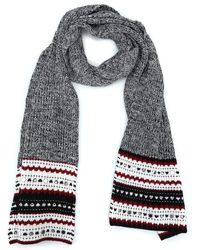 Dondup Small Mirrors Embellished Wool Blend Scarf - Gray