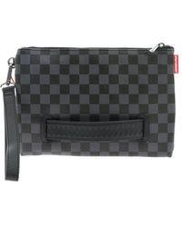 Sprayground - Check Print Clutch Bag In Black And Grey - Lyst