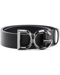 Dolce & Gabbana Cintura in pelle con fibbia logata - Nero